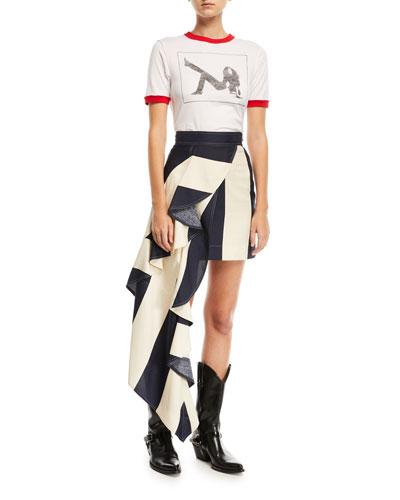 Striped Asymmetric Ruffled-Frill Silk Skirt and Matching Items