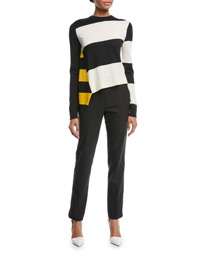 Asymmetric Colorblock Stripe Sweater and Matching Items
