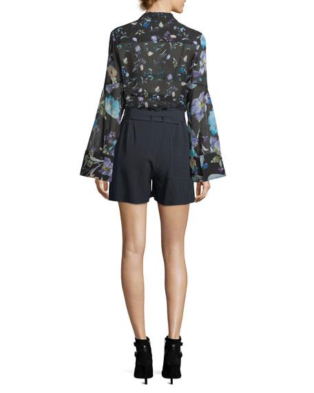 Bell-Sleeve Button-Down Floral-Print Silk Chiffon Blouse