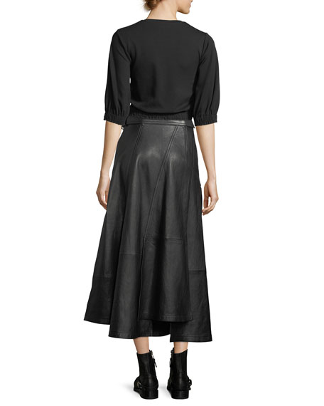 Utility Long Leather Skirt