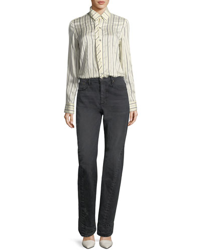 Curve-Seam Denim Jeans and Matching Items