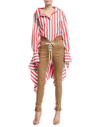 Candy-Stripe Blouse w/Back Peplum and Matching Items