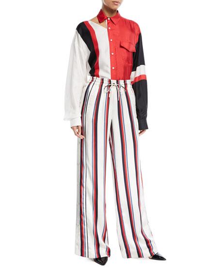 Mod Stripe Silk Blouse