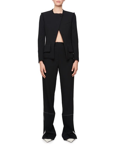 Asymmetric 1-Button Raw-Edge Blazer Jacket  and Matching Items