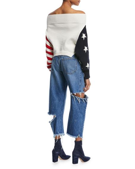 Off-Shoulder Knit Flag Sweater