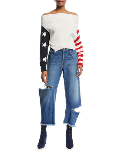 Cropped Broken Leg Denim Jeans and Matching Items