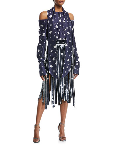 Sequined Star Fringe Midi Skirt and Matching Items