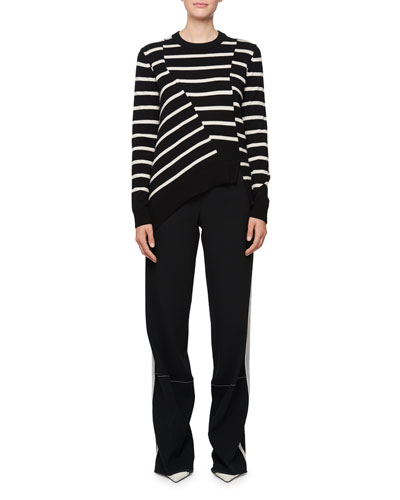 Long-Sleeve Stripe Asymmetric Sweater, Black/White and Matching Items