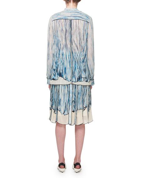 Long-Sleeve Printed Silk Blouse