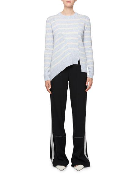 Long-Sleeve Stripe Asymmetric Sweater, Black/White