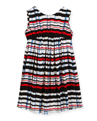 Stripe Pleat-Print Knit Dress, Size 4-6  and Matching Items