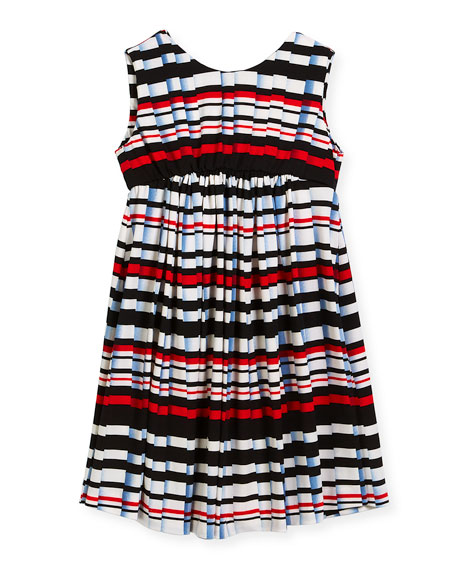 Stripe Pleat-Print Knit Dress, Size 4-6
