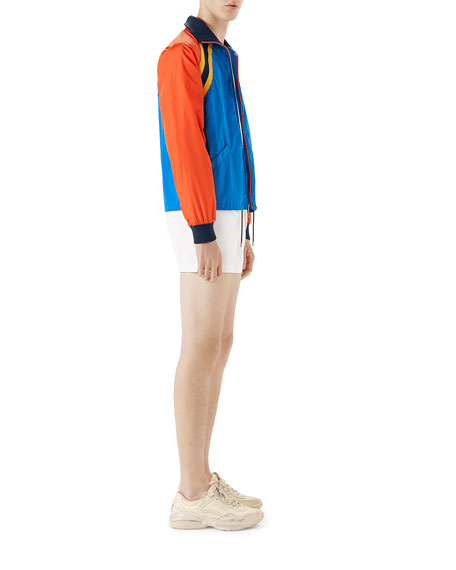 Light Nylon Blouson Jacket with Patch Detail