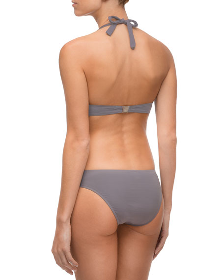 Ajourage Couture Laser- Cut Triangle Solid Swim Top