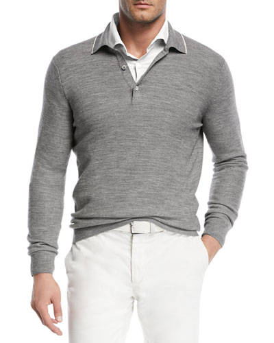 Lightweight Wool-Blend Polo Sweater and Matching Items