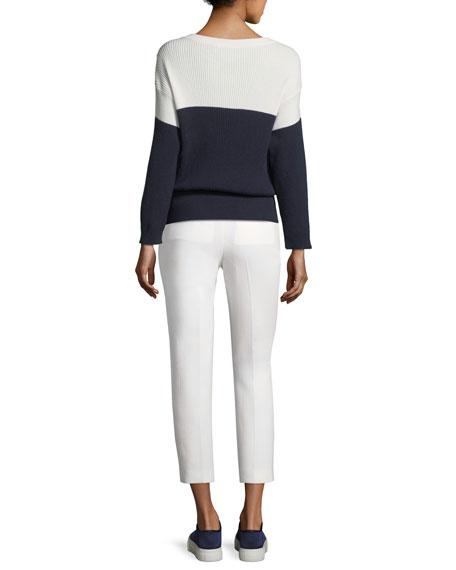 Button-Shoulder Drawstring Sweater