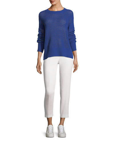 Double-Wool Crepe Slim Trousers, White and Matching Items