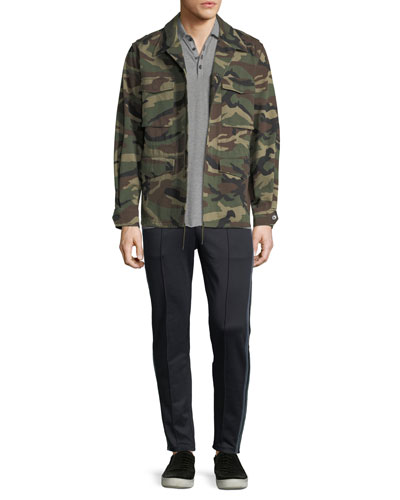 Camouflage-Print Military Jacket and Matching Items