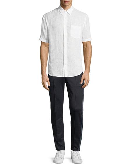 Washed Linen Short-Sleeve Sport Shirt