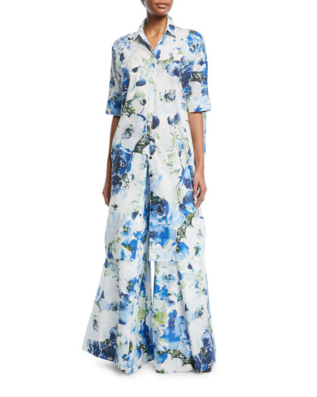 Half-Sleeve Floral Sateen Shirtdress