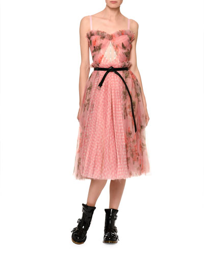 Floral Gingham Mesh Bustier Dress and Matching Items