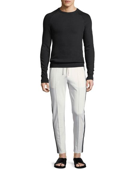 Diagonal-Stitch Crewneck Sweater