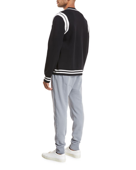 Contrast-Trim Varsity Jacket