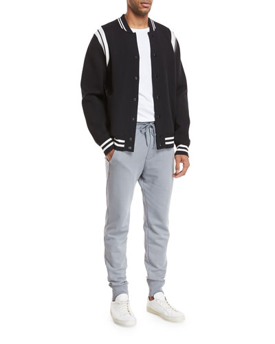 Contrast-Trim Varsity Jacket and Matching Items