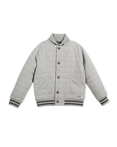 Double Knit Tech Baseball Jacket, Gray, Size 5-7  and Matching Items