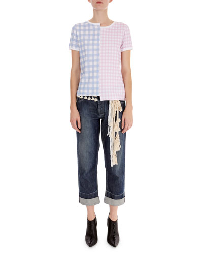Asymmetric Gingham-Front T-Shirt and Matching Items