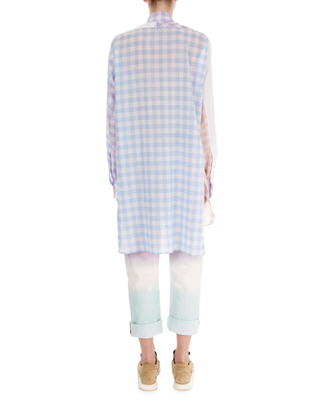 Oversized Patchwork Gingham Blouse
