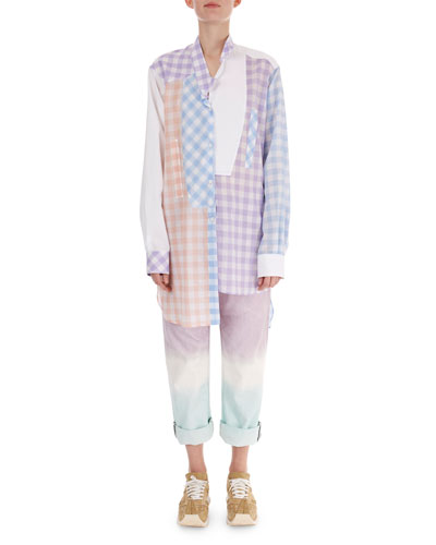 Oversized Patchwork Gingham Blouse and Matching Items