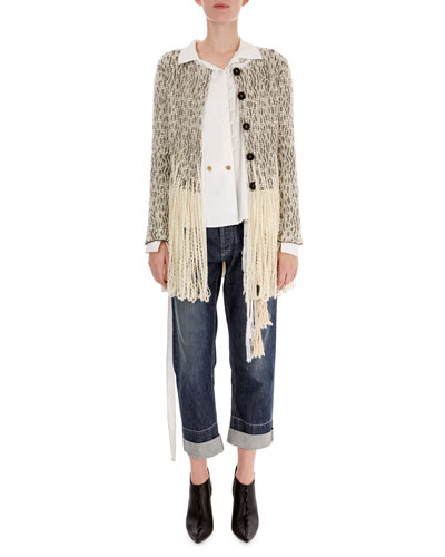 Fringe-Hem Tweed Cardigan and Matching Items
