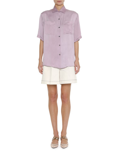 Short-Sleeve Silk Blouse and Matching Items