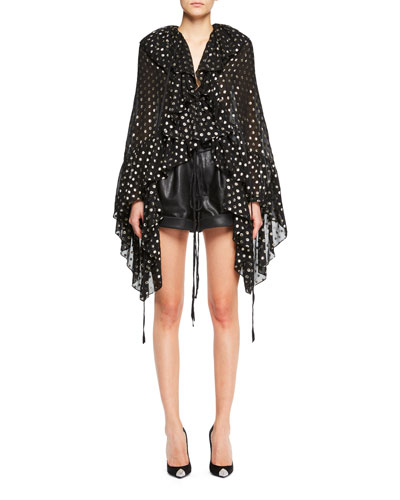 Cropped Metallic Polka Dot Cape Blouse and Matching Items