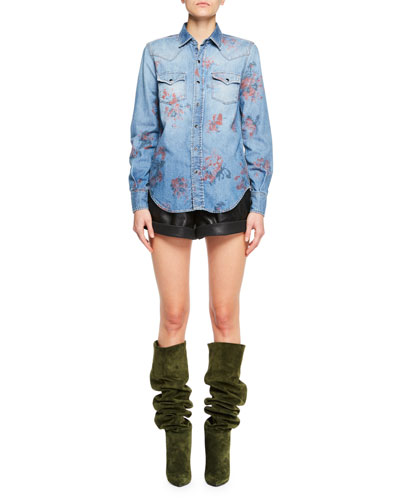 Rose-Print Denim Blouse and Matching Items