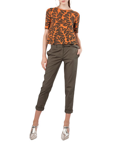 Round-Neck Elbow-Sleeve Tropical-Leaf Jacquard Top and Matching Items