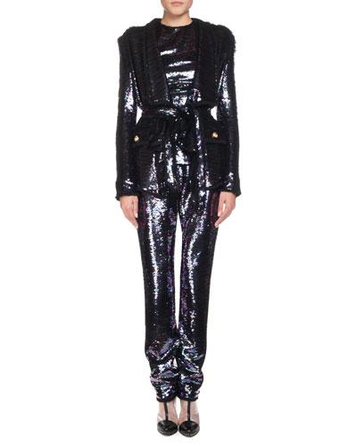 Wrap Waist Sequin Blazer and Matching Items