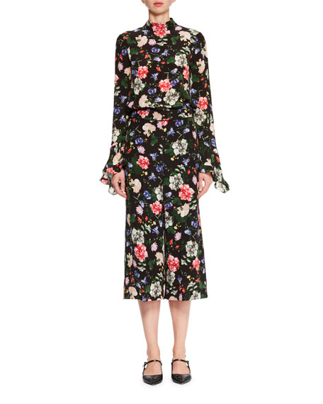 Lindsey Floral-Print Mock-Neck Top