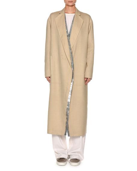 Century Cashmere Coat w/Sequined Panel  Lining