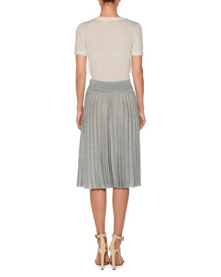 Short-Sleeve Metallic Knit T-Shirt