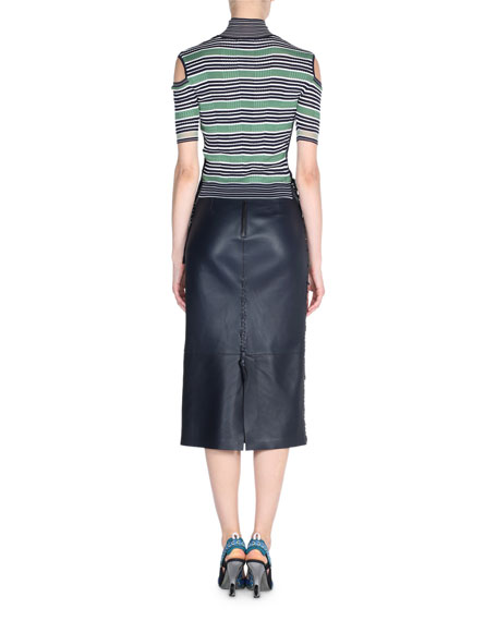 Striped Knit Mock-Neck Cold-Shoulder Top