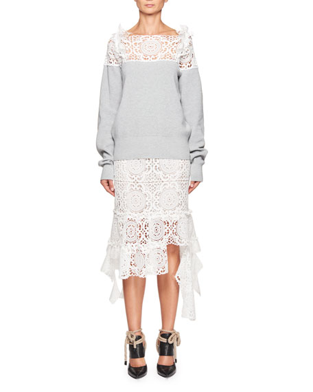 Lace-Yoke Elbow-Patch Sweater