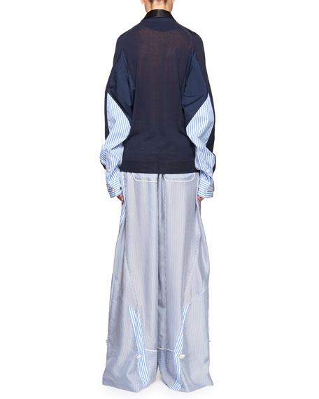 Knit-Front Cardigan w/Tuxedo Collar