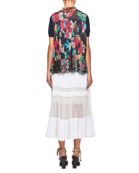 Short-Sleeve Sweater w/Pleated Floral Back