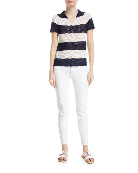 Crocheted Stripe Polo Top