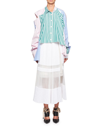 Convertible Mixed-Stripe Poplin Blouse and Matching Items