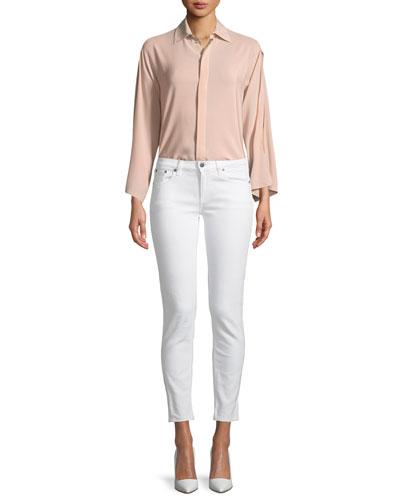 Karen Split-Sleeve Silk Blouse, Blush and Matching Items