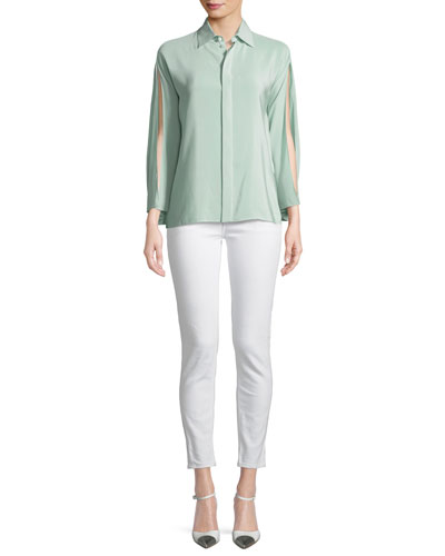 Karen Split-Sleeve Silk Blouse, Green  and Matching Items