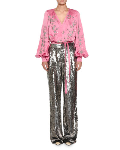 Star-Embroidered Satin Wrap Blouse and Matching Items